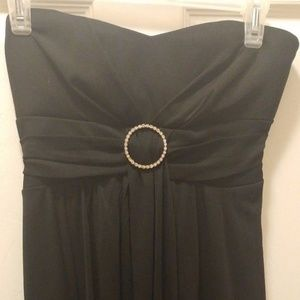 RUBY ROX BLK BUSTIER DIAMOND GEM STRAPLESS DRESS M